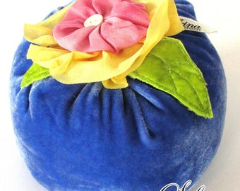 Blue Pin Keeper | Large Flower Pin Cushion in Pink, Yellow, Green | Hand-Embroidered & Made with Love | Soft Velvet Exterior | Cute Buttons