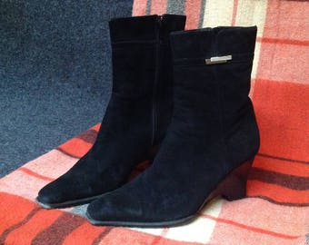 90s Boots High Heel Ankle Boots Heeled Pointy Toe US 8 EU 39 UK 6