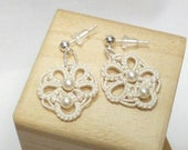 cream Lace Tatted jewelry -Flair earrings with Swarovski crystal pearls in off white tatting for the bride or formal simple jewelry