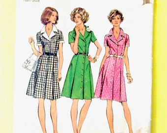 Simplicity 6157 Front Buttoned, Pleated Shirtdress with Princess Seams and Notched Collar Vintage Sewing Pattern  Bust 39