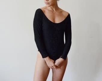 1980s Deborah Wiley Black Textured Bodysuit - XS