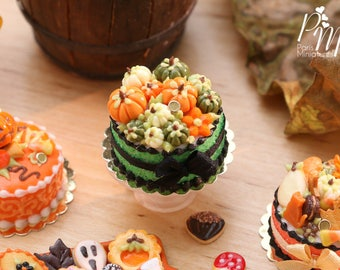 Miniature Cake Decorated with Coloured Pumpkins (Green, White/Cream, Orange) - 12th Scale Miniature Food