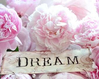 Peony Prints, Dream Peony Print, Baby Girl Nursery Decor, Shabby Chic Decor, Pink Peony Wall Art, Dreamy Pink Peony Prints, Peony Flowers