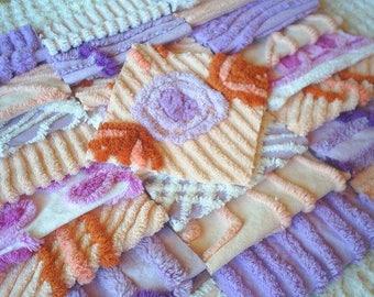 """Vintage Chenille Bedspread Squares -Pretty Peach and Lavender/Purple-24-6"""" blocks"""