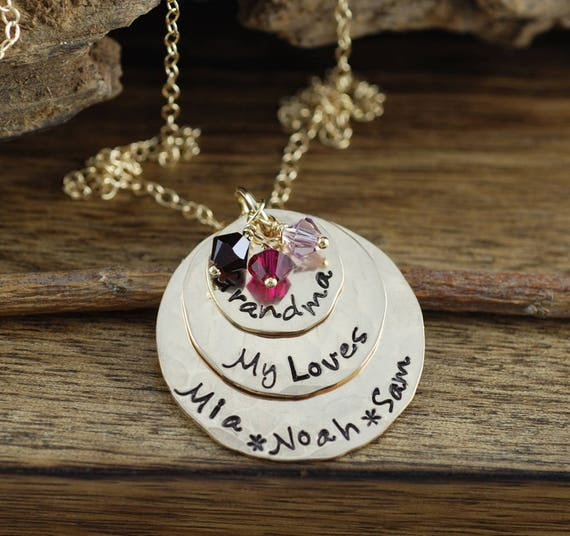 Hand Stamped Grandmother Necklace, Personalized Grandma Jewelry, Birthstone Mother's Necklace, Family Pendant Necklace, Gift for Grandma