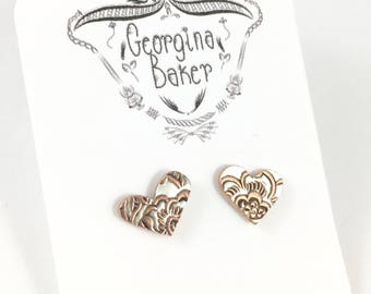 Heart Studs, Silver Heart Studs, Ornate Heart Studs, Heart Earrings, Heart Jewelry, Heart Jewelry Gift, Wife Gift, Copper Earrings