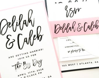 Wedding Invitation, Wedding Invite, Wedding Suite, Black, White, Pink | PRINTED SAMPLE