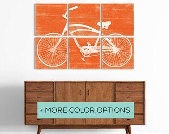 Distressed Vintage Beach Cruiser Bike Print - Bicycle Print on Wood - Large Bicycle Wall Art