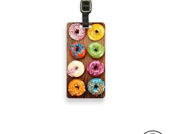 Luggage Tag Rainbow Donuts Doughnut Sweet Treat  Personalized Metal Tag, Single Tag  Custom information on Backs