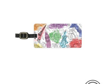 Luggage Tag Watercolor Monuments Luggage Tag Printed Personalized Custom Metal Single Tag