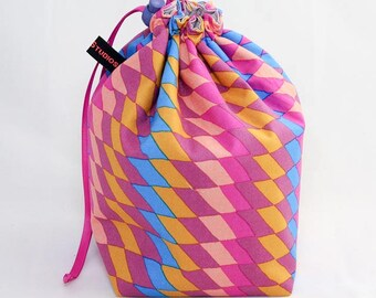 Midi Project Bag - Pink Rhombi