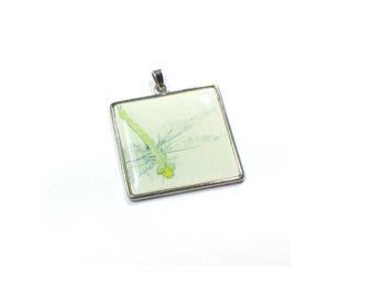 Dragonfly Pendant , Glass Dome Pendant ,  Square  Glass Dome Pendant