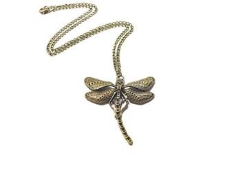 Dragonfly  Pendant , Bronze Dragonfly  Pendant , Steampunk Dragonfly  Pendant , Bronze Dragonfly Necklace