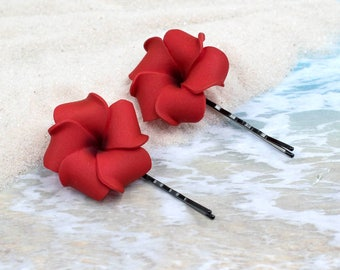 Red Bobby Pins, 2pcs, 1 1/4 inch Flowers,   Floral Hair Pins, Plumerias