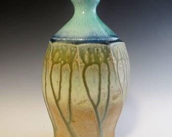 Salt Fired Faceted Bottle Vase with Blue Crackle Top