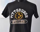 Pittsburgh Steelers Vintage Tee Faded TShirt Pennsylvania nfl football LARGE