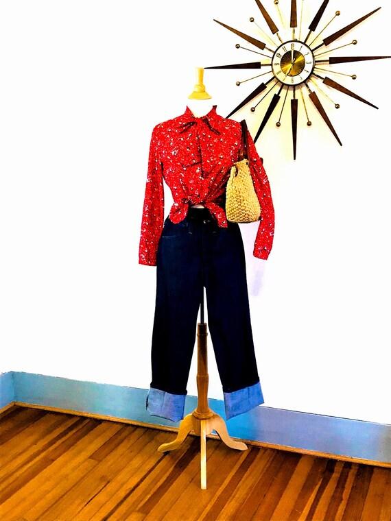 Vintage Wranglers, 60s Wrangler jeans, High Waisted Jeans, 1960s vintage denim, Talon Zipper, Permanent Press, Made in USA, 28X30 2 4  25 26