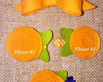 Orange Flower and Bow Alligator Clip