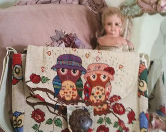 vintage owl purse, owl handbag, tapestry look, mr and mrs owl, bird lovers gift