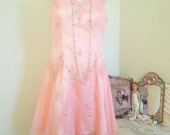 vintage peach wedding gown, 1920s look, peach formal gown, seed beads sequins, 1920s look, asymmetrical hem