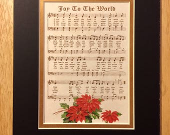 JOY To The WORLD Christian Holiday Home or Office Decor Vintage Verses Sheet Music Wall Art Black & Gold Christmas Art Red Poinsettias Sale