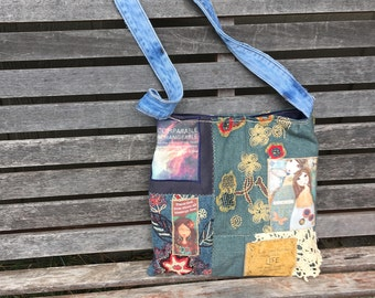 "Mixed Fabric Quilted Handmade Denim Bag,""There are Angels Among Us"" Crossbody Bag, Green. Gold and Blue,Eco-Friendly,Christian Bag,Jesus Bag"