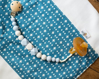Pacifier Clips - Speckled Baby Blue - Fall Winter Collection