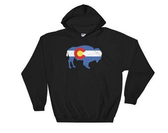 Colorado State Flag Bison Hooded Sweatshirt