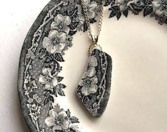 Broken china jewelry - china pendant necklace with chain - antique china shard pendant - black white transferware - made from a broken plate