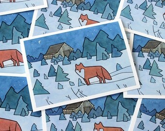 Red Fox Christmas Cards, Chrismas trees illustrated holiday card set