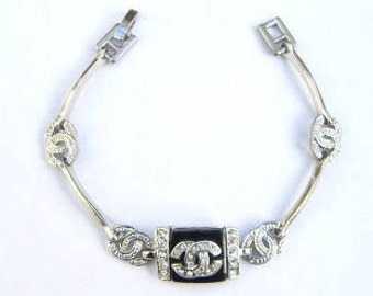"Art Deco Clear Stone Black & Silver Tone Link Bracelet 7"""