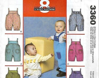 McCall's 3360 Infant's Jumpsuit with Snap Crotch, Button Strap, Pocket Variations. Sizes 25 lbs to 32 lbs, New, Uncut
