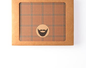 Men's Gift of Boxed Notes - Tweed Pattern Set of 8 with icons of dogs, tools, beard, ties, guitar, headphones