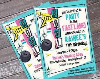 Bowling Invitations - Pink Bowling Party, Bowling Birthday, Retro Bowling, Bowling Invite - Editable Text - INSTANT Download PDF Printable
