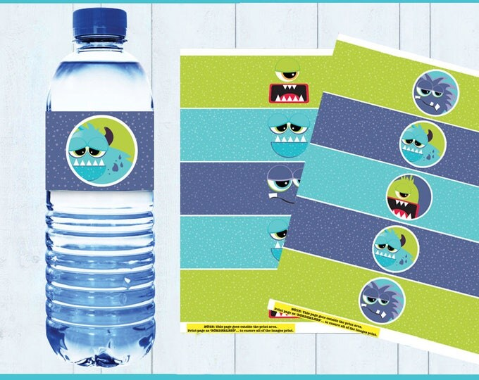 Monster Party Water Bottle Wrappers - Monster Birthday Party, Water Bottle Label, Monsters Inc, Birthday- Instant Download PDF Printable Kit