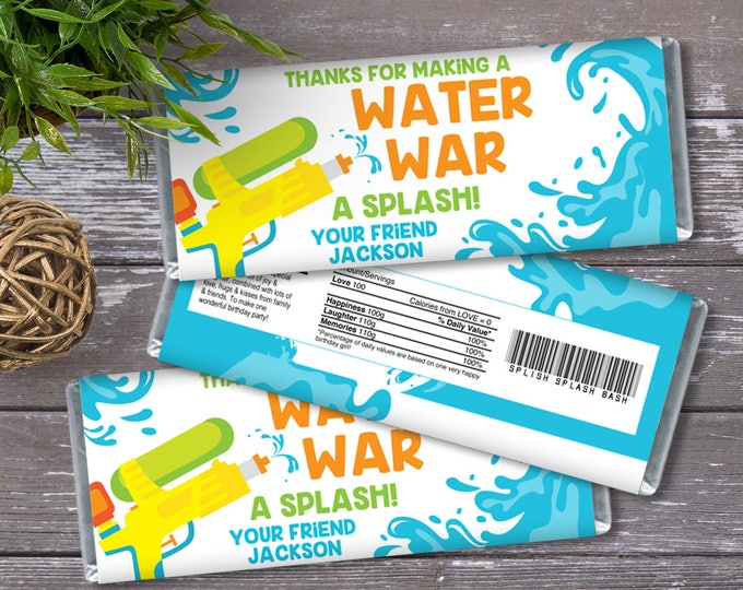Water Gun Party Candy Bar Wrapper - Candy Bar Label, Birthday Party Favors, Water Wars | DIY Editable Text Instant Download PDF Printable
