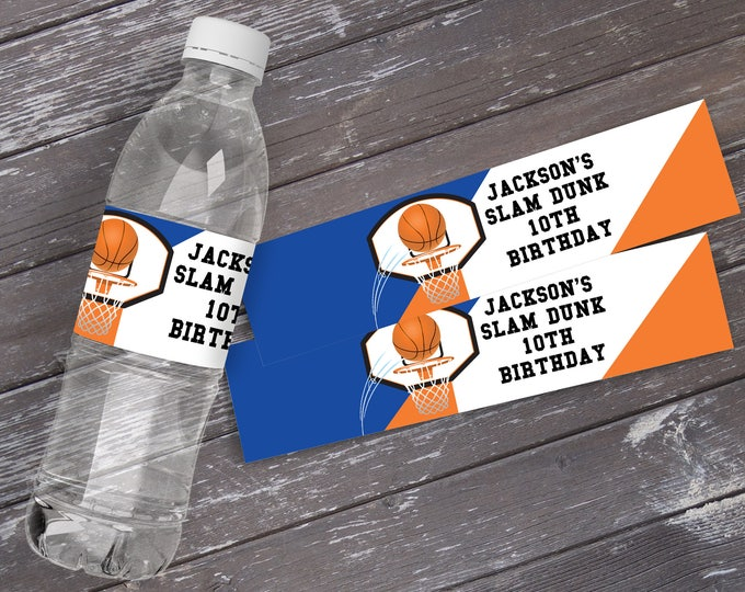 Basketball Water Bottle Label/Wrap - Basketball Party, Basketball Birthday. All Star, Blue | Editable DIY Instant Download PDF Printable