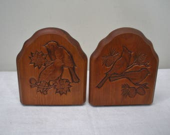Vintage Wood Bookends with Incised Carved Birds