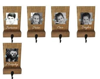 photo stocking hook, reclaimed wood, personalized, mantle, rustic Christmas, stocking hook, name, pet stocking hanger, Christmas decor