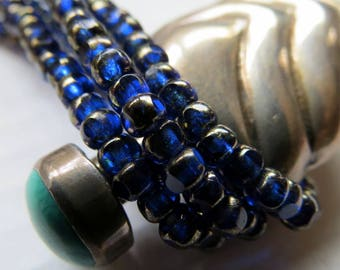 NEW DARK COBALT .  Czech Tri Cut Seed Beads . size 6/0 . (50 beads)