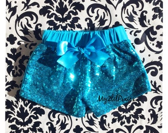 Aqua sequins shorts , Baby Girl Sparkle Sequin SHORTS-  girls birthday outfit- girls sequin shorts- toddler shorts- toddler sequin shorts