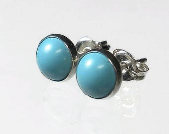 Small Turquoise Stud Earrings Small Turquoise Earrings Turquoise Post Earrings Genuine Turquoise Stud Post Earrings Sterling Silver