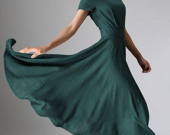 Maxi dress,  linen dress woman, Green dress, flowy dress,  elegant dress, Flared Dress, short sleeve dress, Custom dress,  midi dress  971