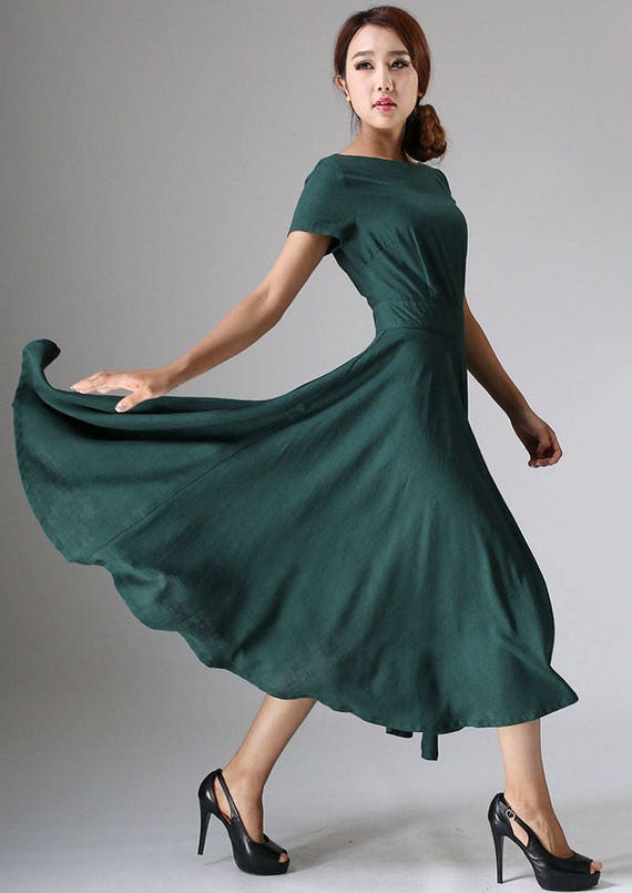 Maxi dress linen dress woman Green dress flowy dress
