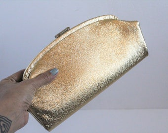 Vintage 1960s Gold Lamé Clutch Purse