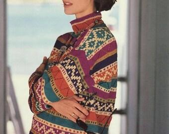 """Classic Elite Yarns Knitting Pattern #417 Ottoman Illusion Adult Sweater 44""""-52"""""""