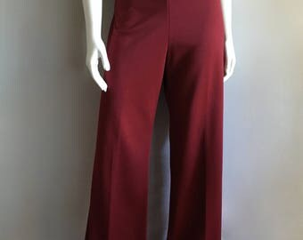 Vintage Women's 70's Burgundy Polyester Pants, High Waisted, Bell Bottoms by Sears (L)