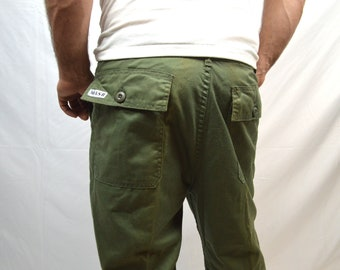 RARE Original Vintage 80s MASH Army Olice Green Cargo Pants
