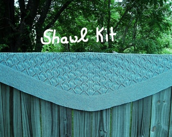 Then Comes Spring-SHAWL KIT  -- Silk/Cotton/Merino yarn (2 x 100 gr /640 yards)