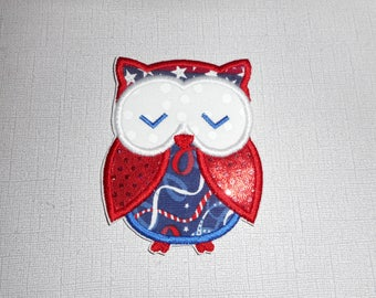 Free Shipping Ready  to Ship  Fourth of July Owl   Machine Embroidery  Iron on applique